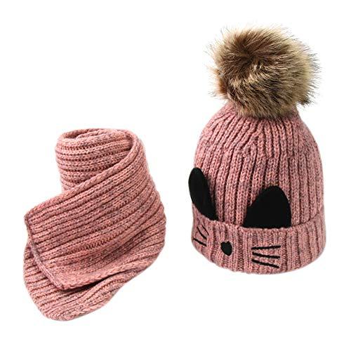 Cuteelf Babybekleidung Schals Niedliche Baby Kleinkind Kinder Cartoon drucken Hut Kappe Mütze + Schal Strickschal, Langschal mit Echt-Leder Veredelung