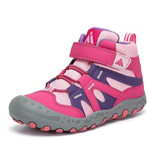 Mishansha Unisex-Child Trail Hiking Shoes Kids Outdoor Running Sneakers Anti-Slip Water-Resistant High Top Trekking Booties Rose and Pink 12 little_kid