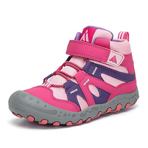 Mishansha Little Kids Water Resistant Hiking Boots, Boys Girls Anti Collision Anti-Skid Athletic Outdoor Ankle Booties Adventure Trekking Shoes Rose and Pink 8.5 Toddler
