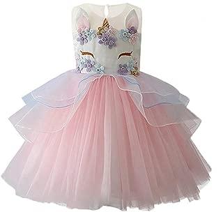 Girls Princess Unicorn Costume Tulle Tutu Dress Summer Sleeveless Costume
