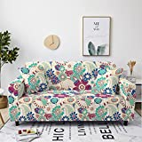 Sofa Cover Stretch Elastic Blue Red Flower Printed Sofa Slipcover 1 Seater Polyester Spandex Furniture Decorative Soft Loveseat Couch Covers Chair Protector for Pets Kids Sofa Covers