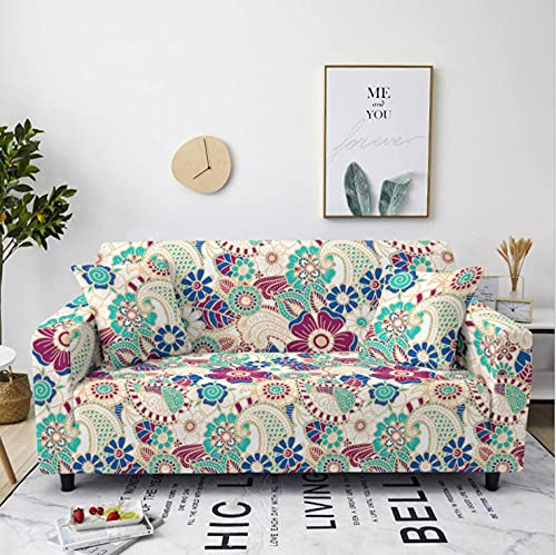 Sofa Cover Stretch Elastic Blue Red Flower Printed Sofa Slipcover 3 Seater Polyester Spandex Furniture Decorative Soft Loveseat Couch Covers Chair Protector for Pets Kids Sofa Covers