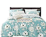 Blue Floral 100% Cotton Sheet Set : Fitted Sheet, Flat Sheet and Two Matching Pillowcases (King)