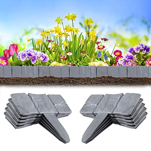 Heveer Bordi per Giardini Effetto Pietra Grigia Plastico Bordature da Giardino Decorazioni per Giardini da Giardino 10 Pezzi