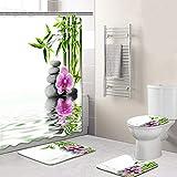 Cortina de Ducha Set de baño Accesorios de alfombras Conjunto de Cortina de Ducha, Estilo Rural a Prueba de Agua y Prueba del Moho poliéster Antideslizante Durable, style2-XXXXL