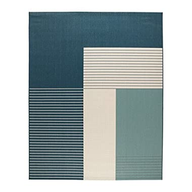 Ikea Rug, flatwoven, indoor/outdoor green-blue 6 ' 7  x8 ' 2   1428.885.226