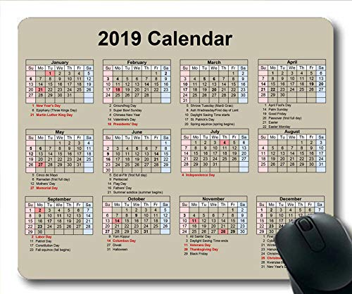 Yanteng 2019-2020 Calendario Teclado para Mouse, un Calendario Juego para Mouse, planificador de Calendario 2019 con Detalles de Vacaciones