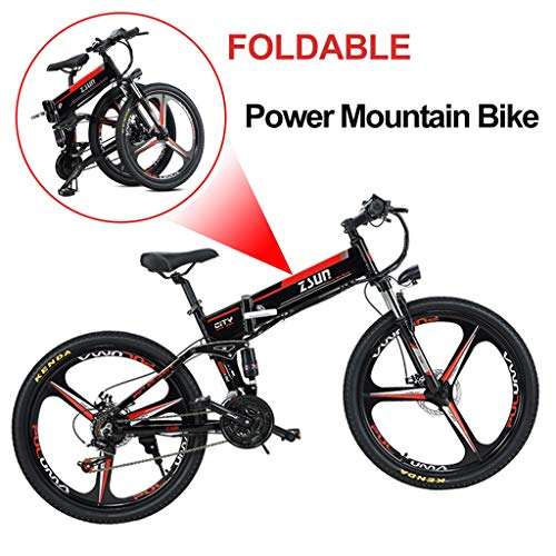 Folding Electric Mountain Bike Electric Bicycle Adult Dual Disc Brakes Suspension Mountainbike Aluminum Alloy Frame Smart LCD Meter 7 Speed Gears (48V,350W) (Color : Black)