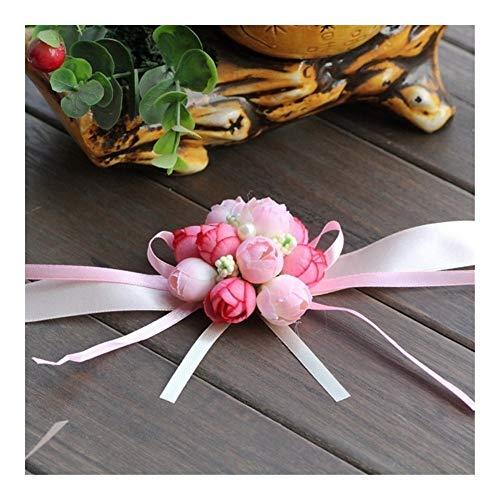 Realista 20pcs la novia de dama de honor niña de la mano floral Ramillete de muñeca ajustable ceremonia pulseras Rose cinta del partido del baile de la decoración de la flor Hermosa ( Color : Pink )
