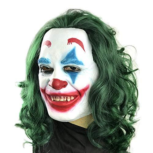 Brynnl Joker Máscara Halloween Mask Máscara, máscara aterradora con cabello verde, accesorios de disfraces para adultos, carnaval, fiesta de disfraces