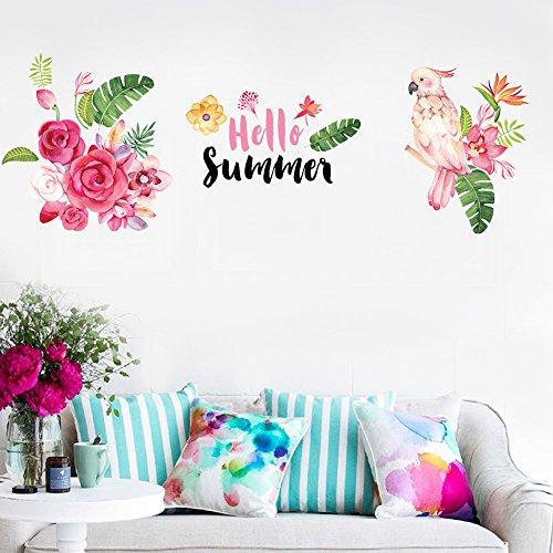 Bodhi2000 - Adhesivo decorativo para pared con diseño de loro, diseño de flores para habitación de niños, niños, dormitorio de bebé, decoración de pared