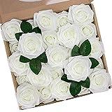 NundT NIETING Künstliche Rosen, fühlen sich echt an, DIY für Hochzeit, Brautsträuße, Valentinstag, Muttertag, Babyparty, Heimdekoration, Elfenbein, 25 Stück