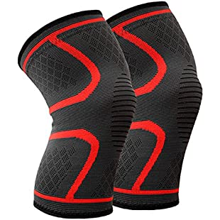 Beskey Knee Support (Pair) Anti Slip Knee Brace Super Elastic Breathable Knee Compression Sleeve Help Joint Pain Relief Arthritic Sufferer Recovery from Injuries Fit Sports (XL, Red)