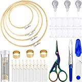 53 Pieces Cross Stitch Tool Embroidery Starter Kit, Includes Bamboo Circle Cross Stitch Hoop Ring, Vintage Sewing Scissors, Needle-Threading Tools, Thimbles, Floss Bobbins, Seam Ripper and Embroidery