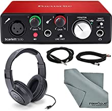 Focusrite Scarlett Solo USB Audio Interface (3rd Generation) + Samson SR360 Over-Ear Dynamic Stereo Headphones, Cables and Accessories