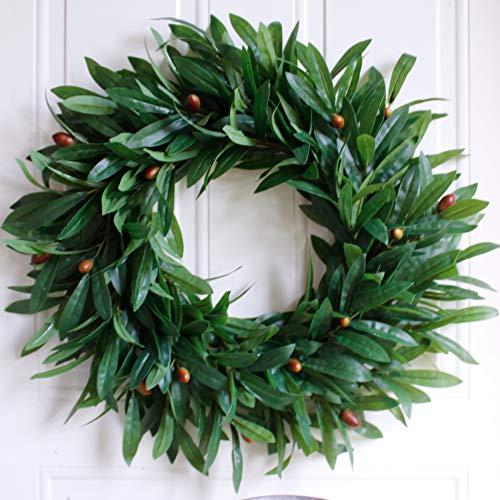 Dseap Olive Wreath for Front Door, Door Wreath, Green, 22-Inches