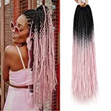 24 Inch Box Braids Crochet Hair 5Packs Pink Crochet Braids Hair Pre-looped Crochet Box Braids Synthetic Braiding Hair Extensions 22Strands/Pack (pink, 24inch)