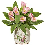 Nearly Natural Tulip Artificial Floral Design Vase Silk Arrangements, Pink