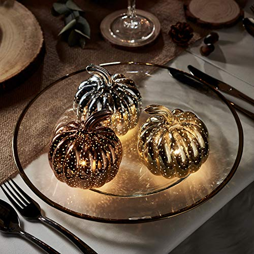 Lights4fun Set of 3 LED Glass Halloween Pumpkins Silver Rose Gold with Timer Autumnal Decoration