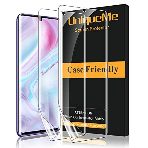 UniqueMe [2 Pack] Protector de Pantalla Compatible con Xiaomi Mi Note 10 / Note 10 Pro/Note 10 Lite, [Fácil instalación] [Sin Burbujas] HD Clear TPU Película Flexible de Cobertura Completa