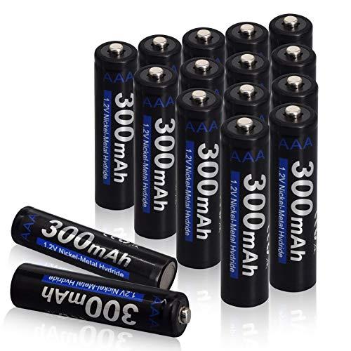CITYORK Akku AAA 300mAh NiMH 1,2V AAA Batterien Wiederaufladbar mit geringer Selbstentladung, Ideal für Drahtlose Maus, Tastatur, Wecker, Spielzeug, Solarlampe, LED-Leuchten (16 Stück)