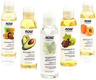 New Now Foods Solutions 5 Pack - Carrier Oil Gift Set: Almond Oil - Grapeseed Oil - Avocado Oil - Apricot Oil - Vegetable Glycerine Oil 100% Natural Moisturizing Massage 4 Oz