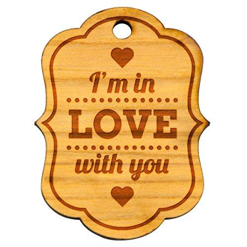 Sleutelhanger in Love with you liefde hout natuur hanger gravure geschenk ca. 41 x 53 mm