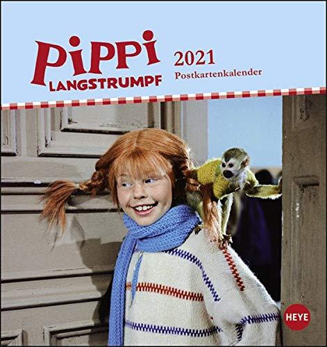 Pippi Langstrumpf Postkartenkalender 2021 - Kalender mit perforierten Postkarten - zum Aufstellen und Aufhängen - mit Monatskalendarium - Format 16 x 17 cm