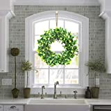 Artificial Eucalyptus Green Leaf Wreath with Cotton, Spring Summer Outdoor Ornaments for Front Door Bedroom Wall Window Home Office, Housewarming Gift, and Easter Valentine Decor (16.5 Inch)