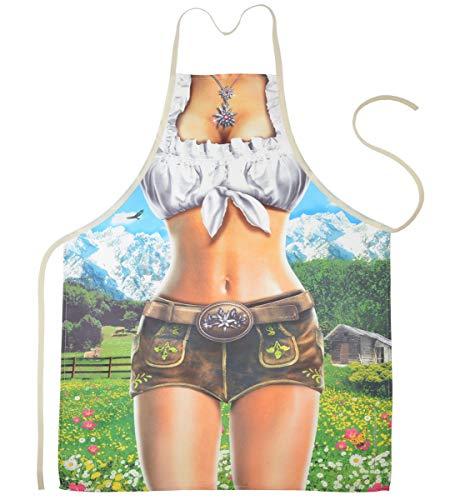 Geile-Fun-T-Shirts Grillschürze Bayern Sexy Alpenmodel Girl Küchenschürze Damen Koch Schürze geil Bedruckt Geschenk Set mit Mini Flaschenschürze
