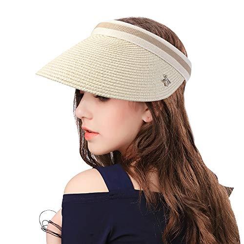 Sumolux Sombrero de Paja Gorra de Visera vacía Visera de Verano Sombrero de Playa