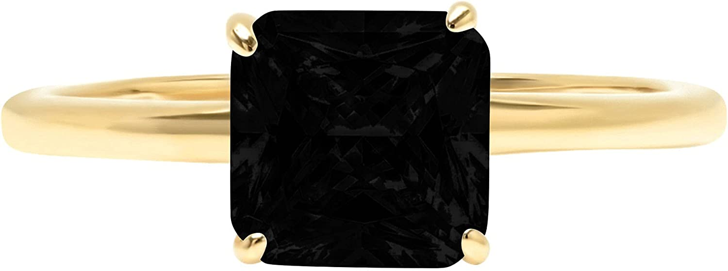 1.9ct Brilliant Asscher Cut Solitaire Flawless Genuine Natural Black Onyx Ideal VVS1 4-Prong Engagement Wedding Bridal Promise Anniversary Designer Ring Solid 14k Yellow Gold for Women