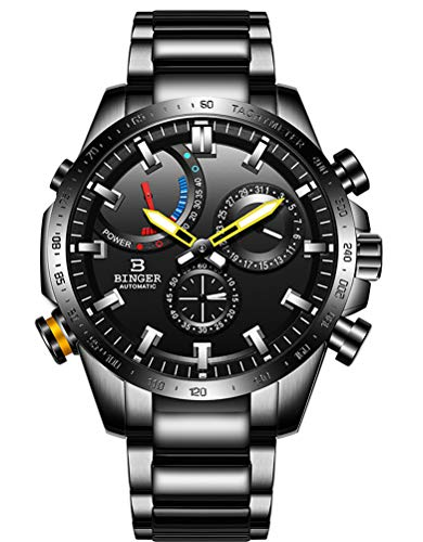 B BINGER Men's Automatic Mechanical Watch with Large Dial (Black)