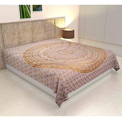 Casa Moro Bettüberwurf Mandala Amba Weiss Gold 220x240 cm Doppelbett Überwurf | Wanddekoration Tagesdecke dekorativer Wandteppich Boho-Stil | MA7106