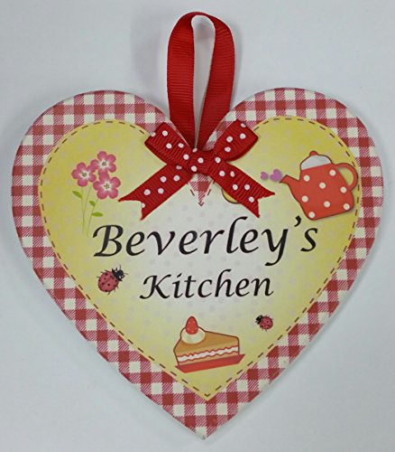 Beverly nommé personnalisé en forme de cœur Kitchen Plaque magnétique par Sterling effectz