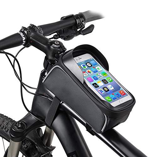 EXTSUD Fahrrad Rahmentasche Wasserdicht Farhrradlenkertasche Fahrradrahmen Tasche Oberrohrtasche Handytasche Geeignet für Smartphones/Innerhalb mit Kopfhörerloch, TPU Touchschirm von 6 Zoll