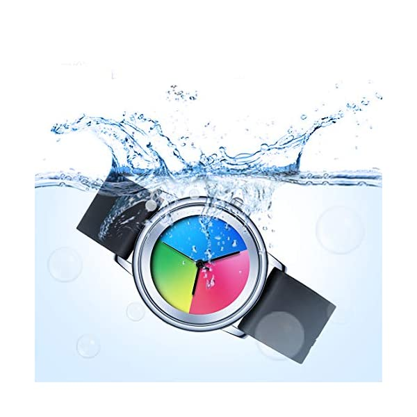 VAVC Womens Colorful Waterproof Wrist Watch with Rainbow Colored Silicone Band