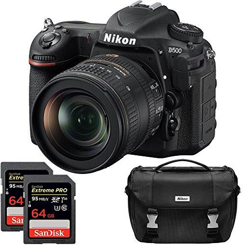 Nikon D500 20.9 MP CMOS DX Format Digital SLR Camera with 16-80mm VR Lens Kit, Dual Lexar 64GB 1000x SDXC Memory Card and Bag