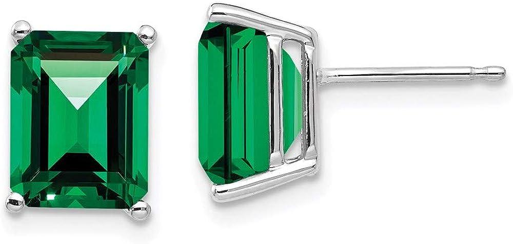 14k White Gold Elegant 9x7mm Emerald free Cut 9mm Mount Helens St. 7 Earrings