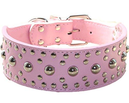 Haoyueer - Collar unisex de piel con tachuelas para perro (tamaño mediano, grande, para Pitbull Doberman, tallas M, L, color rosa