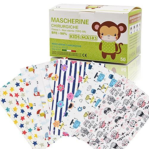50 Stück Farbige persönliche Schutzmasken für Kinder 3 Schichten CE Typ II, verstellbares Nasenstück, Einzelpackungen