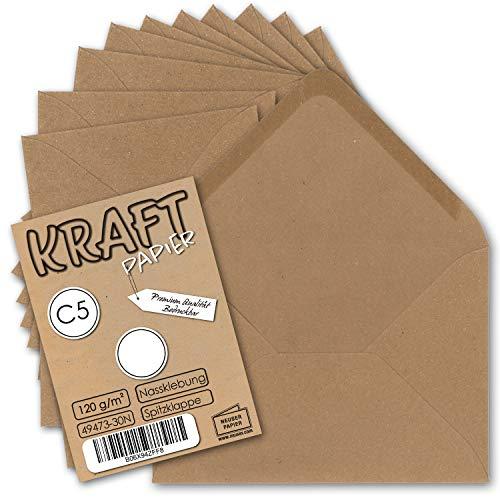 50x Vintage Brief-Umschläge DIN C5 Kraftpapier 120 g/m² - 157 x 225 mm - braun Recycling - Nassklebung Spitzklappe I UmWelt by GUSTAV NEUSER