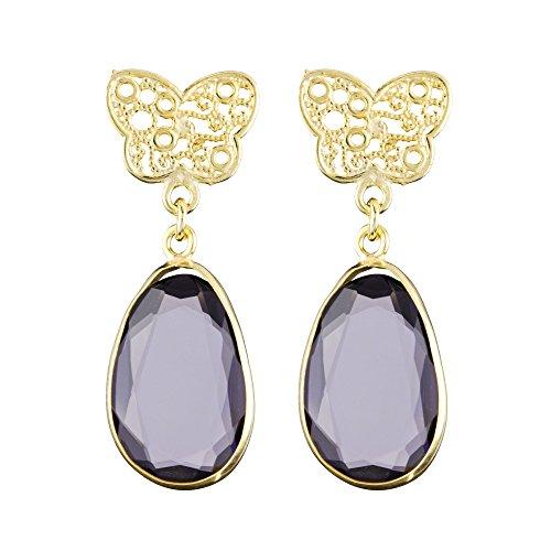 Córdoba Jewels | Pendientes en plata de Ley 925 bañada en oro. Diseño Mariposa Filigrana Amatista