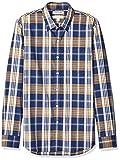 Marca Amazon - Goodthreads - Camisa cómoda de popelín elástico con manga larga, corte entallado, y de cuidado fácil, para hombre, Blue Yellow Large Plaid, US M (EU M)