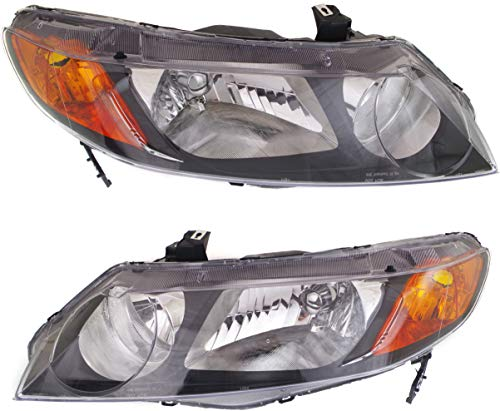 Headlight Set Compatible with 2006-2008 Honda Civic Left Driver and Right Passenger Side Halogen