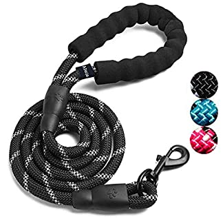 ADOGO® Rope Dog Lead with Soft Padded Handle and Reflective Threads Nylon Durable Dog Leash Safety 5FT Mountain Climbing Rope Twist Dog Lead For Small Medium Large Dogs (Black) 14