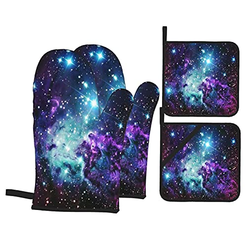 Alvaradod Oven Mitts and Pot Holders Sets of 4,Fur Purple Teal Galaxies,Polyester BBQ Gloves with Quilted Liner Resistant Hot Pads for Kitchen Cooking Baking Grilling