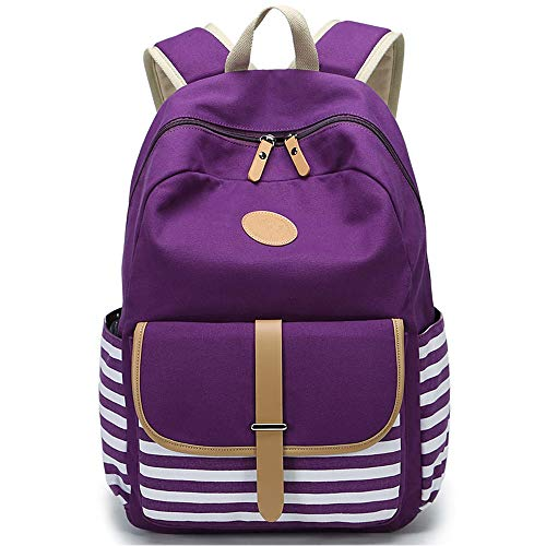 FLYMEI Cute Bookbags for Girls, Purple Canvas Backpack for Women, Teens Backpack for School, 15.6 Inch Laptop Backpack Lightweight Bookbag Casual Daypack for Travel