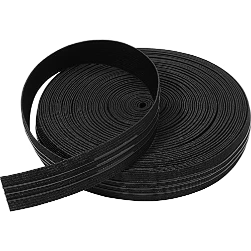 Silicone Backed Elastic Band Non-Slip Sewing Elastic Band Silicone Elastic Webbing, Black (15 Yards x 1 Inch)