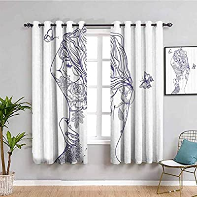 Girly Decor All Season Insulation Curtain Young Girl with Tattoos and Butterflies Free Your Soul Inspired Long Hair Feminine Image Maintain Good Sleep Purple White